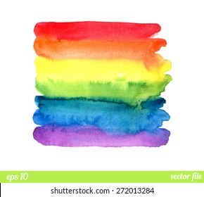 Rainbow, watercolor texture. Abstract background vector. Colorful, red, orange, yellow, green, blue, indigo, violet colors. Web and mobile interface, website template