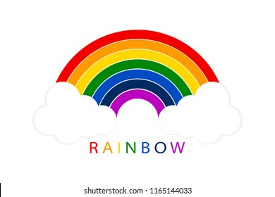 Rainbow with white clouds on blank background. Illustration for your design. logo. Rainbow vector icon. Rainbow on blue background. Rainbow icon. Raibows. Rainbows vector icon