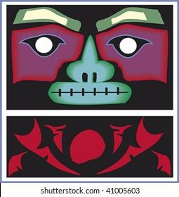 Rainbow woodcut mask rendered in Northwest Coast Native style.