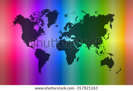 Rainbow World Map Vector Stock Vector Royalty Free 357821261