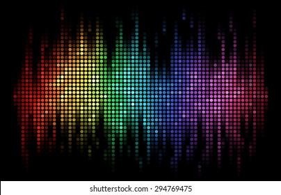 A rainbow-colored sound wave composed by round dots set against a black background
