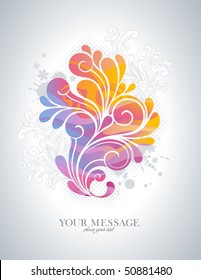 rainbow-colored swirly background with splats and retro floral elements