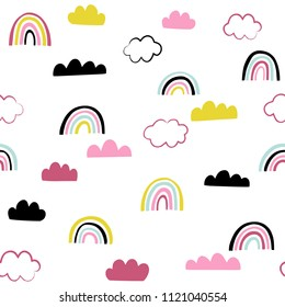Rainbows and clouds seamless pattern. Cute doodle childish vector illustration. Hipster background.