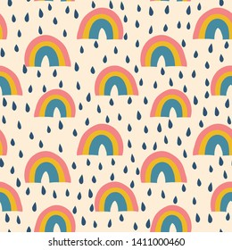 Rainbows and raindrops seamless vector pattern vintage style