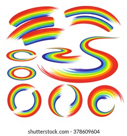 Rainbows shapes set : circles and stripes, curve, brush strokes for  icon, logo templates, print, design elements. Vector isolated on white background.