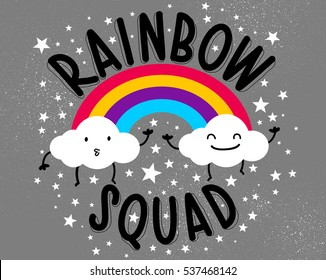 rainbows and two little clouds,sweet kids graphics for t-shirts,rainbow squad