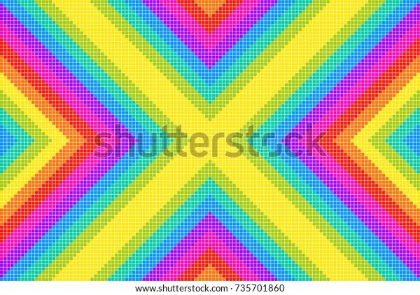 Rainbox Pixel X Pattern Background