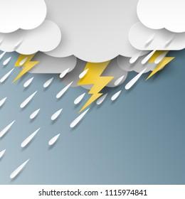 Rain,cloud and thunderbolt on rainy day season background paper art style.Vector illustration.