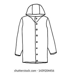 Raincoat. Monochrome sketch, hand drawing. Black outline on white background. Vector illustration