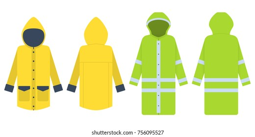 Raincoat. Vector illustration isolated on white. Two variants: yellow and green with reflective flickers. Front and back. Clothes protecting from a rain and a strong wind. Men's or women's windbreaker