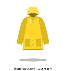 Raincoat yellow icon, Flat design of rain coat clothing with round shadow, vector illustration