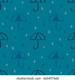 Raindrop With Blue Umbrella Symbol Pattern Background
