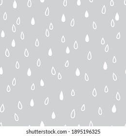 Raindrop shapes seamless vector pattern. Simple Rain neutral grey Scandinavian baby print. Rainy weather sky nursery design