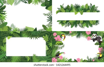 Rainforest banner set. Cartoon illustration of rainforest vector banner set for web design