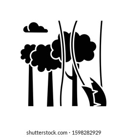 Rainforest plants and trees glyph icon. Evergreen forest vines. Lianas and high trees. Trip to Indonesian jungle. Discover Bali nature. Silhouette symbol. Negative space. Vector isolated illustration