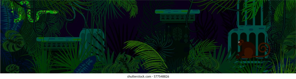 Rainforest wild animals and plants horizontal vector background. Green hanging snake and monkey in the night jungles.