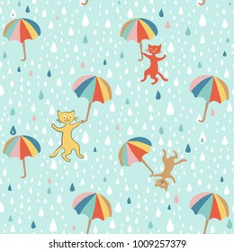 Raining cats and dogs Graphic seamless pattern. Doodle Style. Hand drawing Eps-8 print