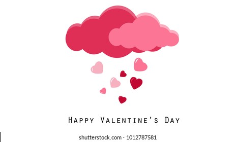 Raining of hearts with Pink and Red clouds. Valentines day concept