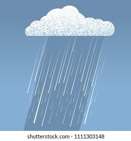 Raining illustration.Vector image of rain cloud