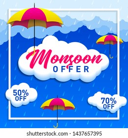 Raining Offers on Monsoon Sale Concept, Template, Banner, Logo Design, Icon, Poster, Label, Web Header, Background Mnemonic with Umbrella over it. Monsoon season raining drops - Vector, Illustration