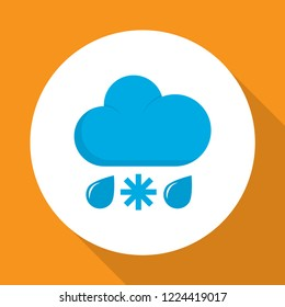 Rain-snow icon flat symbol. Premium quality isolated drizzles element in trendy style.
