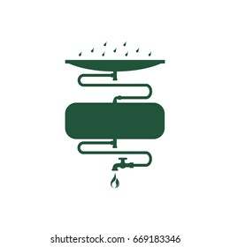 Rainwater harvest and reuse system. Abstract concept, icon. Flat design. Vector illustration on white background.