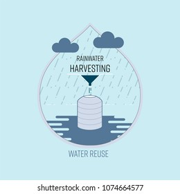 Rainwater harvesting, water reuse, save water concept. Vector illustration.