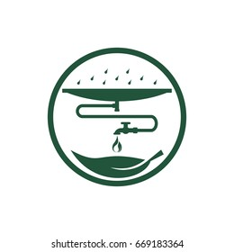 Rainwater recycling system. Saving water concept, icon. Flat design. Vector illustration on white background.