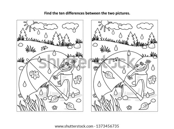 Rainy Autumn Summer Day Find Differences Stock Vector Royalty Free 1373456735
