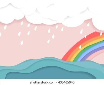 Rainy cloud and rainbow over the sea