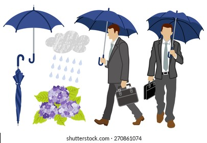 Rainy day Businessman set
