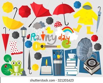 rainy day illustration,umbrella set,rainy season,rain,rain fall,forecast