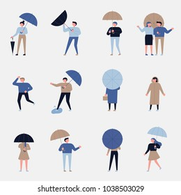 rainy day various people characters. style vector illustration flat design