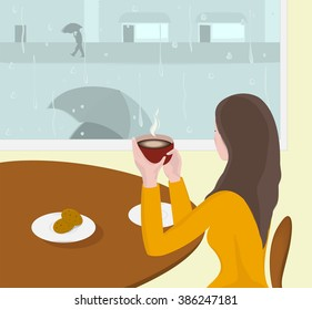 Rainy day. Woman drinks hot drink in cafe. Vector Illustration.