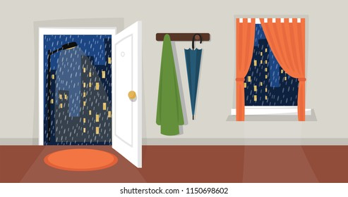 Rainy evening city view. Open door, window, coat wrack, umbrella, curtains, room, street light, drops, night sky. Autumn day. Flat cartoon style. Eps 10 vector illustration.