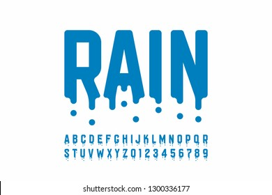 Rainy font design, modern alphabet letters and numbers vector illustration