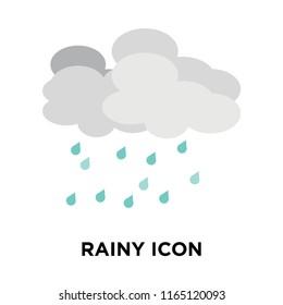 Rainy icon vector isolated on white background, Rainy transparent sign , weather symbols