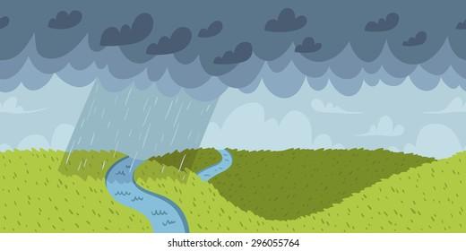 Rainy landscape vector seamless horizontal pattern