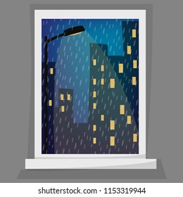Rainy night scene. Cartoon window view. Cityscape, late evening, street light, grey, night sky, rainy drops, windowpane. Eps 10 vector illustration.