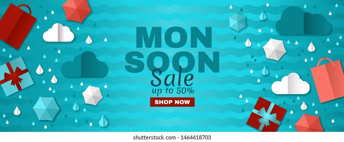 rainy offer. Creative monsoon Sale Banner with Colorful cloud, umbrella, gift box and package. white frame with 3d paper cut icon decoration. web banner for special Monsoon Season sale