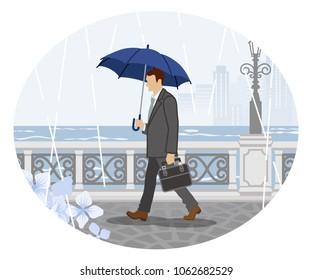 Rainy scene clip art - Businessman ,Side view