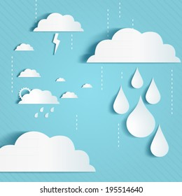 Rainy season background with clouds an raindrops
