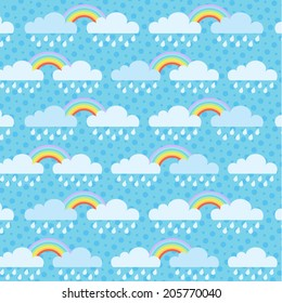 Rainy season background with rainbows and clouds, Vector EPS10