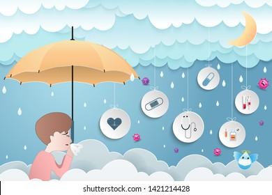 Rainy season with the health care of children. Cloud and rain on a blue background, influenza, the common cold and treatment for healthcare. Overcast sky and lightning. Vector illustration