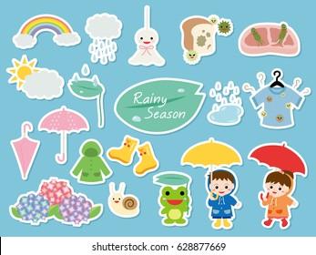Rainy season illustration set.