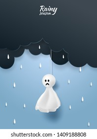 Rainy Season, monsoon background .Doll chasing rain hanging and cloud on blue sky.  paper art style. vector.