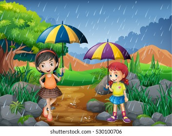Rainy season with two girls in the park illustration