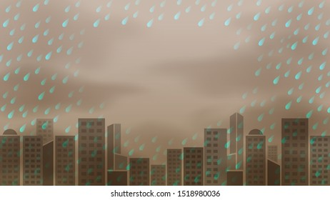 rainy storm dark and landscape building background, acid rain pollution, rainy storm and copy space, raindrop in dark sky and air misty climate polluted, monsoon storm for ecological disaster concept