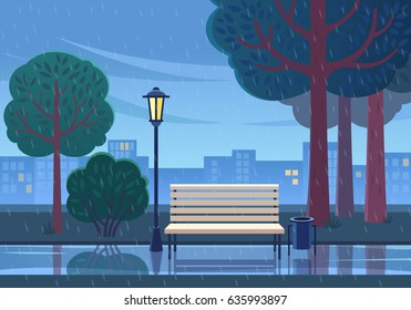 Rainy summer day in the park. Vector illustration of raining in public park with town building background, path, bench and street lamp.