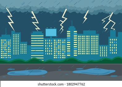 Rainy weather in city at night. Dark clouds looming over the town, goes rain, strong lightning and thunder. Cityscape with large city buildings with luminous windows, puddles on the road in evening